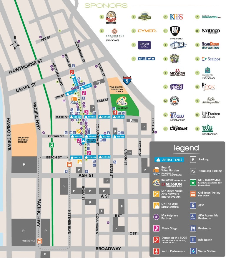 Little Italy San Diego Map.Artwalk Event Map Edited For Webiste Mission Federal Artwalk